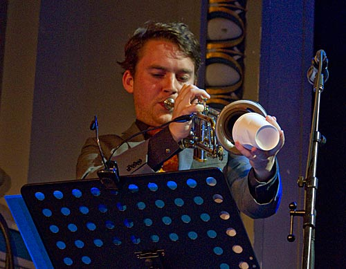 Eamon McNelis with improvised mute
