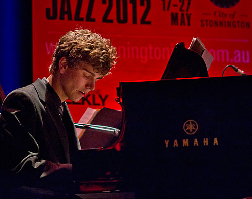 Shea Martin on piano at Stonnington Jazz.