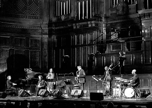 The Greek Project musicians on stage at Melbourne Town Hall.