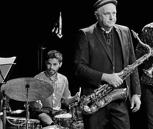 In the black: Raj Jayaweera on drums and Paul Williamson on tenor sax.