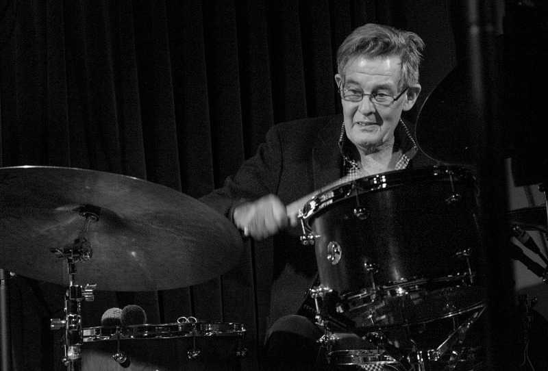 Allan Browne at the drum kit for Ithaca Bound