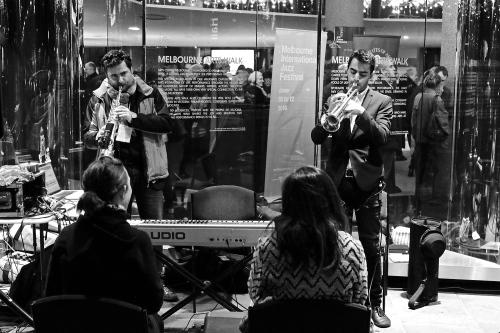 Mirko Guerrini and Niran Dasika create sound portraits for MIJF patrons outside Hamer Hall