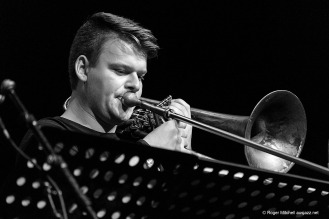 Josh Bennier on trombone during the Monash sessions.