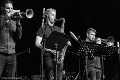Paul Williamson trumpet, Jonathan Cooper tenor sax and Josh Bennier on trombone during the Monash sessions.