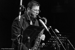 Rob Burke on tenor sax during the Monash sessions.