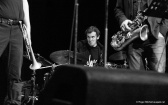 Conor Anderson-Vague on drums during the Monash sessions.
