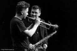 Felix Meredith on trumpet, Rob Burke tenor sax during the Monash sessions.