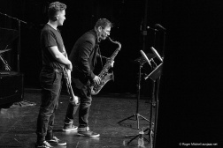 Felix Meredith on trumpet, Rob Burke on tenor during the Monash sessions.