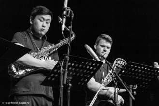 Andre Lew on tenor sax, Josh Bennier on 'bone in the Monash sessions.