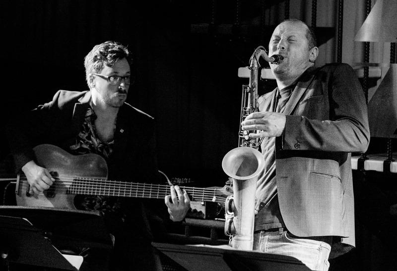 Chris Hale on bass, Jamie Oehlers on tenor sax.