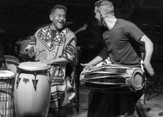 Ray Pereira and Kanchana Karunaratna drum up a storm.