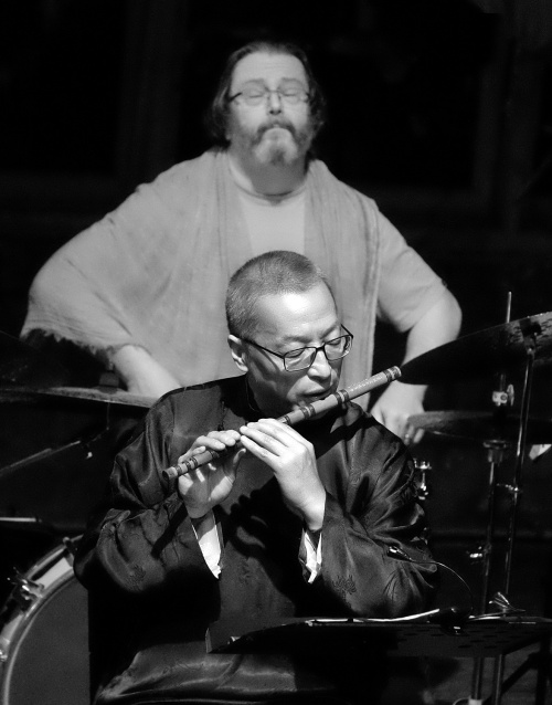 Niko Schauble at the drum kit and Wang Zheng-Ting on flute.